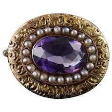 10K Victorian Amethyst Seed Pearl Halo Engraved Oval Pin/Brooch Yellow Gold  [QWXC]