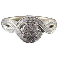 14K 0.25 CTW Diamond Vintage Look Engraved Engagement Ring Size 7.25 White Gold [QWXK]