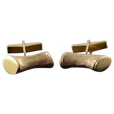 14K Retro Textured Bamboo Branch Cuff Links Yellow Gold  [QWXC]