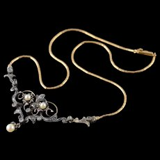 "925/14K Stunning Diamond & Pearl Edwardian Necklace 16.25"" Yellow Gold  [QWQQ]"