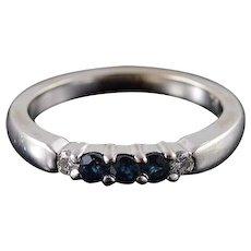 14K 0.28 CTW Sapphire Diamond 5 Stone Wedding Band Ring Size 7 White Gold [QWXK]