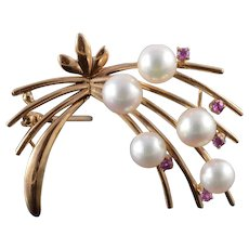 14K 1960's Retro 6mm Pearl Red Stone Flower Motif Pin/Brooch Yellow Gold  [QWQC]