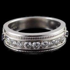 14K Sapphire Diamond Channel Set Wedding Band Men's Ring Size 10 White Gold [QWQC]