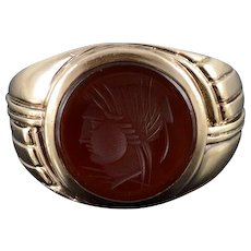 10K Carnelian Carved Round Intaglio Ornate Grooved Ring Size 8.5 Yellow Gold [QWQC]