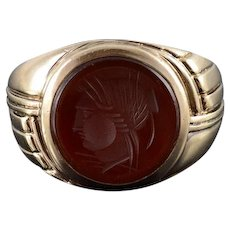 10K Carnelian Carved Round Intaglio Ornate Grooved Ring Size 8.5 Yellow Gold [QWXK]