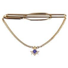 1/20th 12kGold Filled Masonic Blue Enamel Chain Tie Bar   [QWXF]