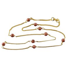 """14K 4mm Gold Stone Beaded 1.2mm Curb Link Chain Necklace 15.25"""" Yellow Gold  [QWXF]"""