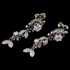 14K Victorian 0.80 Ctw Diamond Ornate Dangle Stud EarRings White Gold  [QWQC]