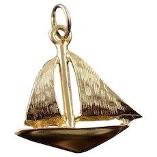 14K Sail Boat Beach Ocean Sea Diamond Cut Charm/Pendant Yellow Gold  [QWQC]