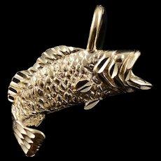14K Bass Fish Fishing Water Ocean Beach Charm/Pendant Yellow Gold  [QWQC]