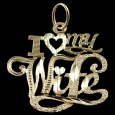 14K #1 Number One Wife Mother Spouse Charm/Pendant Yellow Gold  [QWQC]