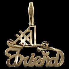 14K #1 Number One Best Friend Word Cut Out Charm/Pendant Yellow Gold  [QWQC]
