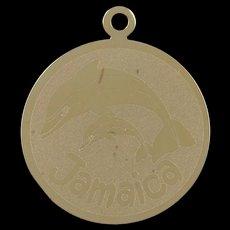 14K Jamaica Dolphin Island Beach Sea Ocean Charm/Pendant Yellow Gold  [QWQC]