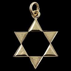 14K Hebrew Jewish Star of David Cut Out Charm/Pendant Yellow Gold  [QWQC]