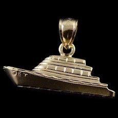 14K Fishing Boat Ocean Sea Summer Charm/Pendant Yellow Gold  [QWQC]