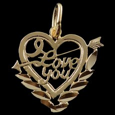 14K I Love You Heart Cut Out Saying Charm/Pendant Yellow Gold  [QWQC]