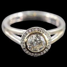 14K 1.09 CTW Round Diamond Bezel Set Halo Engagement Ring Size 7 White Gold [QWQQ]