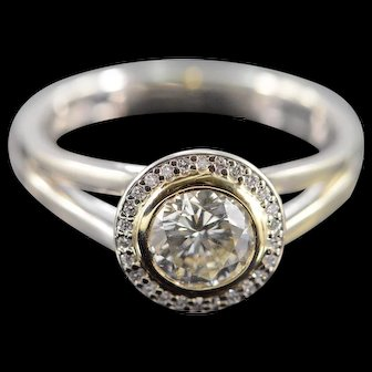 14K 1.09 CTW Round Diamond Bezel Set Halo Engagement Ring Size 7 White Gold [QWQQ]