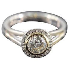 14K 1.09 CTW Round Diamond Bezel Set Halo Engagement Ring Size 7 White Gold [QWXP]