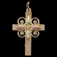 10K Black Hills Leaf Cross Charm/Pendant Yellow Gold  [QWQC]