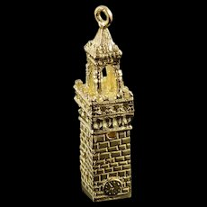 14K Clock Tower Castle Heavy Medieval Charm/Pendant Yellow Gold  [QWQC]
