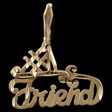 14K #1 Number One Friend Bestie BFF Best Charm/Pendant Yellow Gold  [QWQC]