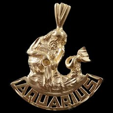 14K Aquarius Astrological Sign Cut Out Charm/Pendant Yellow Gold  [QWQC]