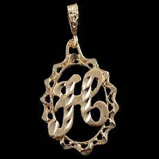 14K H Letter Monogram Cursive Initial Oval Charm/Pendant Yellow Gold  [QWQC]