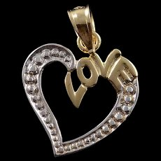 14K Love Heart Two Tone Charm/Pendant White Gold  [QWQC]