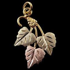 12K Black Hills Leaf Charm/Pendant Yellow Gold  [QWQC]