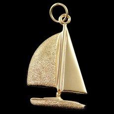 14K Sailboat Beach Ocean Sea Diamond Cut Charm/Pendant Yellow Gold  [QWQC]