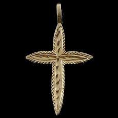 14K Simple Classic Cross Diamond Cut Charm/Pendant Yellow Gold  [QWQC]
