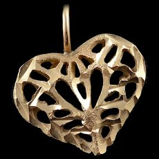 14K Filigree Lace Heart Hollow Charm/Pendant Yellow Gold  [QWQC]