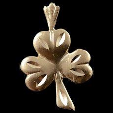 14K Lucky Clover Irish Ireland Luck Charm/Pendant Yellow Gold  [QWQC]