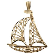 14K Filigree Sail Boat Ocean Beach Sea Water Charm/Pendant Yellow Gold  [QWQC]