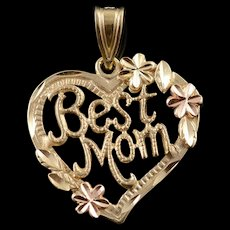 14K Best Mom Saying Mother Heart Cut Out Word Charm/Pendant Yellow Gold  [QWQC]