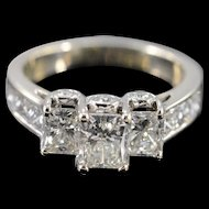 14K GSI 3.10 Ctw Radiant Cut H VS2 Diamond Engagement Ring Size 7 White Gold [QWXP]
