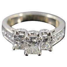 14K GSI 3.10 Ctw Radiant Cut H VS2 Diamond Engagement Ring Size 7 White Gold [QWXP]