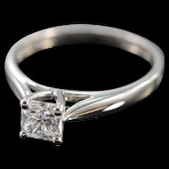 Platinum GGL 0.70 Ct D / VS2 Square Radiant Cut Solitaire Diamond Engagement Ring Size 7