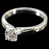 18K Hearts on Fire 0.70 Ct G / VS2 Round Solitaire Diamond Engagement Ring Size 7.25 White Gold [QWXP]