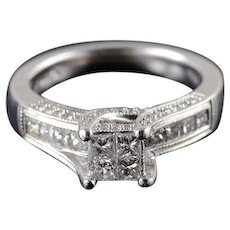 14K 0.75 Ctw Diamond Princess Invisible Engagement Ring Size 7 White Gold [QWXS]