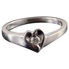 14K Diamond Wavy Ribbon Heart Promise Sweetheart Ring Size 7 White Gold [QWXS]