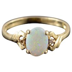 14K Opal Diamond Inset Oval Cabochon Grooved Ring Size 6.75 Yellow Gold [QPQQ]