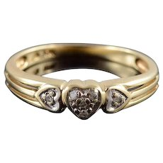 10K Diamond Inset Three Heart Cluster Grooved Ring Size 6 Yellow Gold [QRXQ]