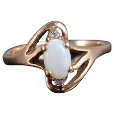 10K Opal Diamond Oval Cabochon Wavy Bypass Ring Size 3.5 Yellow Gold