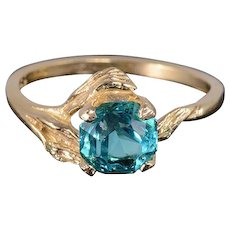 14K 1.25 Ct Syn. Spinel Vine Leaf Motif Textured Band Ring Size 6.5 Yellow Gold [QWXS]