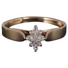 10K Diamond Marquise Cluster Decorative Bridge Ring Size 6 Yellow Gold [QWXS]