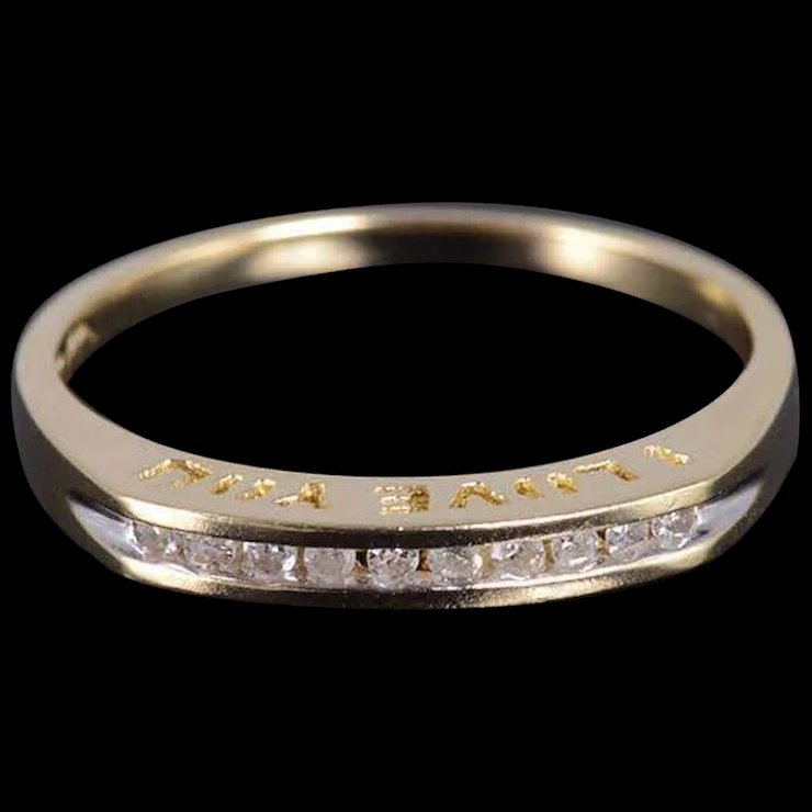 10k Diamond Channel Inset Wedding Band Ring Size 7 25 Yellow Gold Qwxs