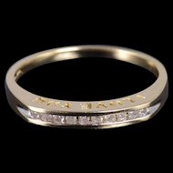 10K Diamond Channel Inset Wedding Band Ring Size 7.25 Yellow Gold [QWXS]