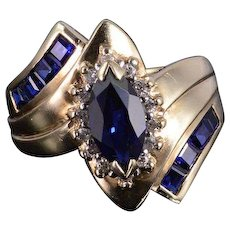 10K 1.60 Ctw Syn. Sapphire Diamond Marquise Halo Bypass Ring Size 7 Yellow Gold [QWXS]
